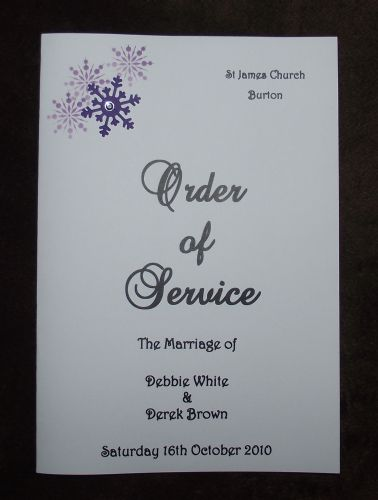 Order of service - Personalised wedding Corner snowflake design various colours x10